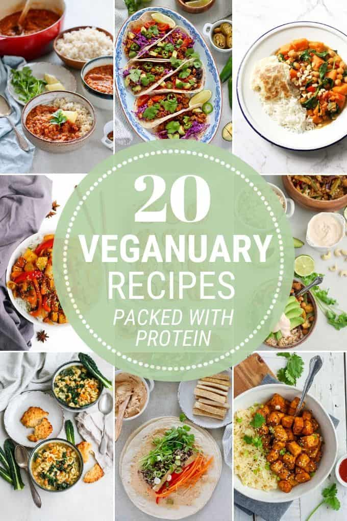 photo collage of veganuary recipes