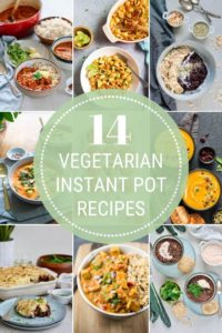 photo collage of vegetarian instant pot recipes
