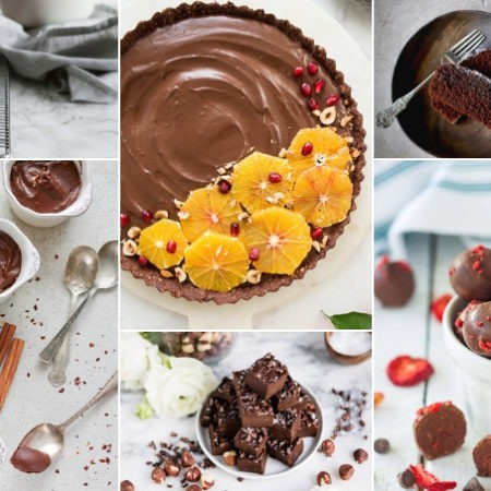 collage of healthy chocolate recipes