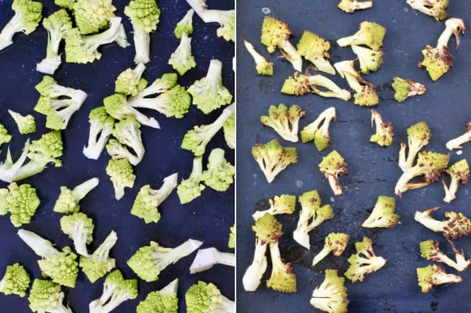 collage photo of roasted romanesco on a metal tray