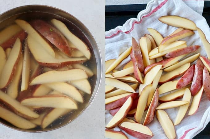 photo collage of crispy potato wedges being made