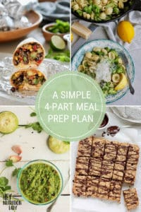 """photo collage with text that reads """"a simple 4-part meal prep plan"""""""