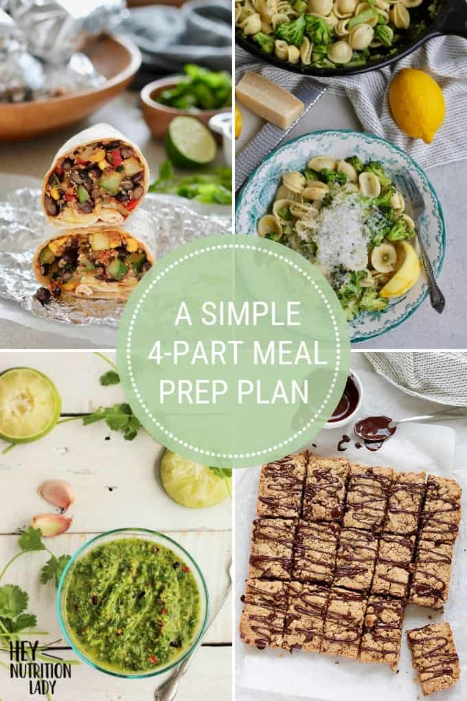 "photo collage with text that reads ""a simple 4-part meal prep plan"""