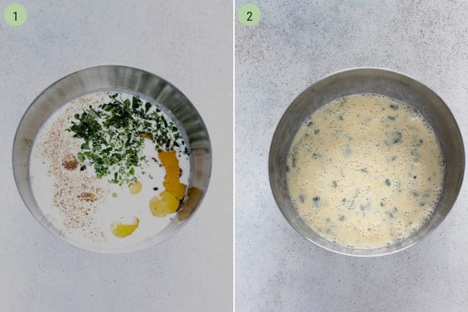 photo collage of eggs, milk, and herbs being mixed in a metal bowl