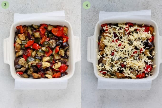 photo collage of roasted vegetables and cheese in a white casserole dish