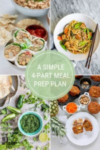 photo collage with text that reads a simple 4-part meal prep plan