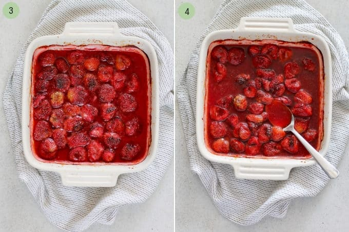 photo collage of baked strawberries and roasted strawberries in a white casserole dish