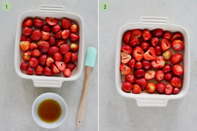 photo collage of strawberries in a white casserole dish