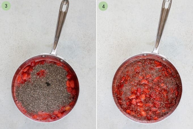 photo collage of strawberry chia jam being cooked in a metal pot