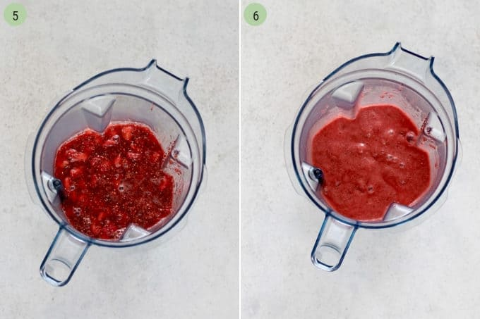 photo collage of strawberry chia jam being blended in a vitamix blender