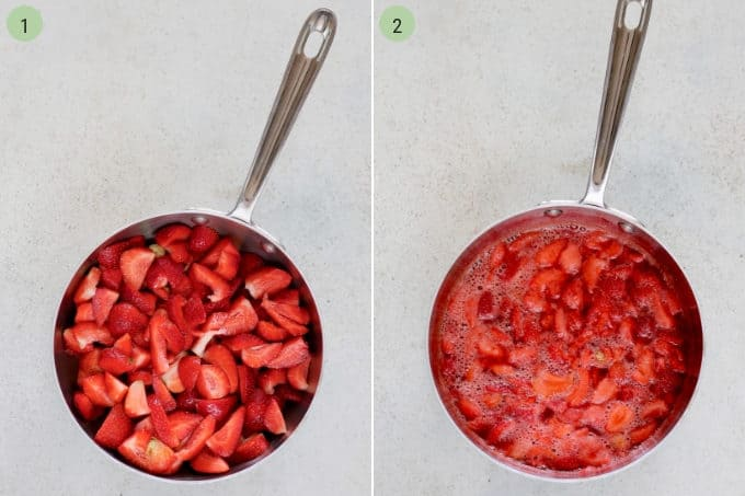 photo collage of fresh strawberries being cooked down in a metal pot