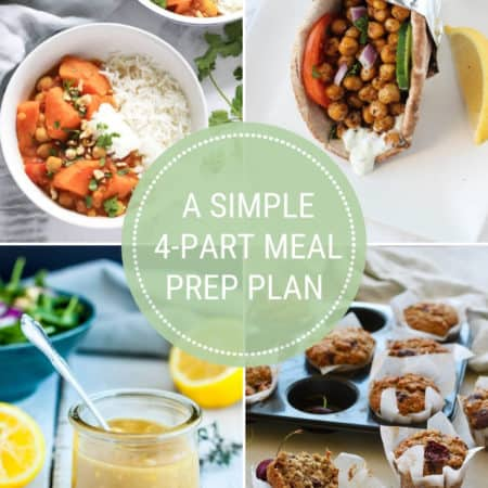 a photo collage for a 4 part meal prep plan