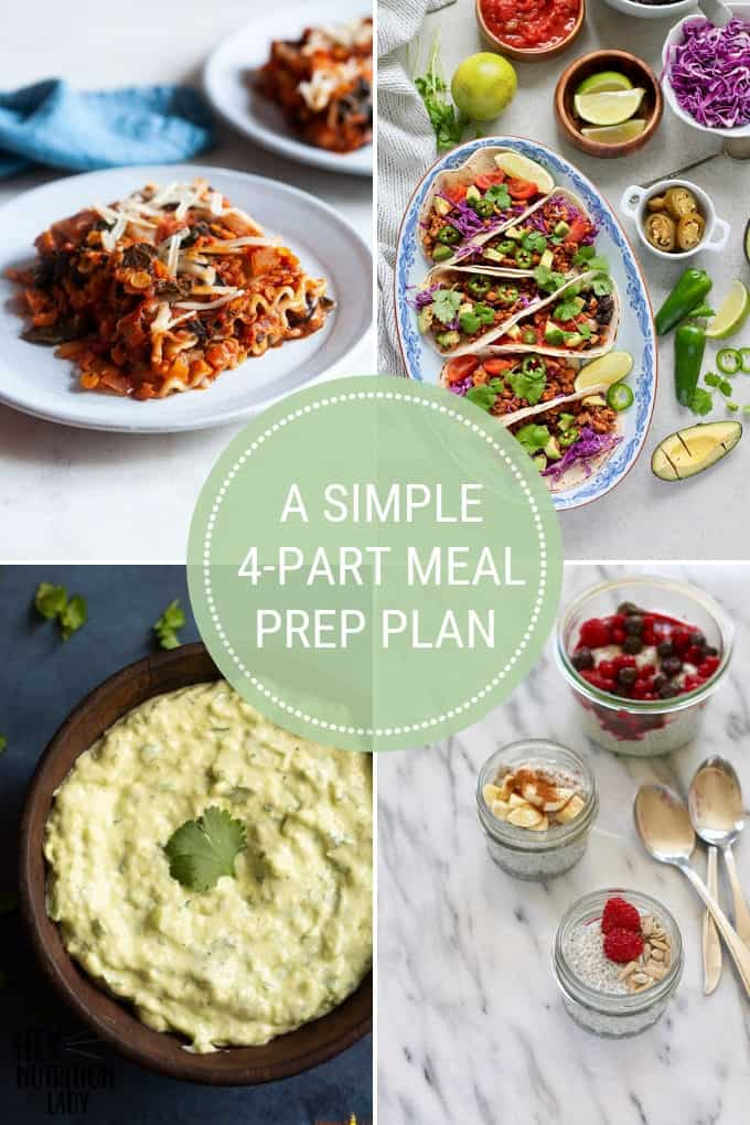 a photo collage with text that reads a simple 4-part meal prep plan