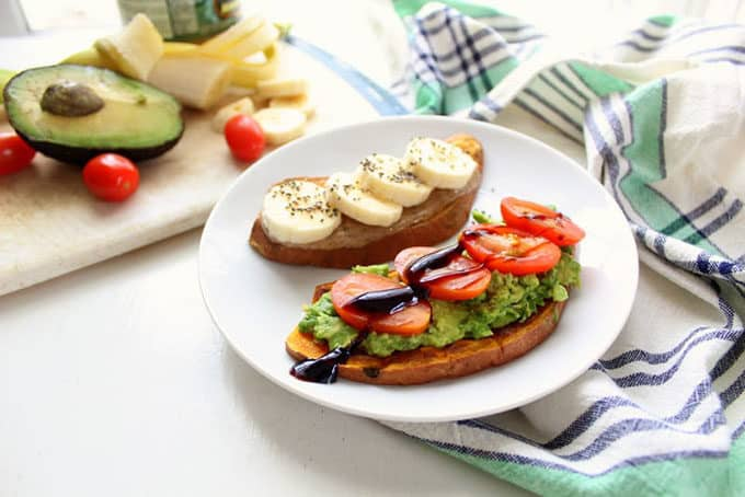 sweet potato toast topped with banana and avocado