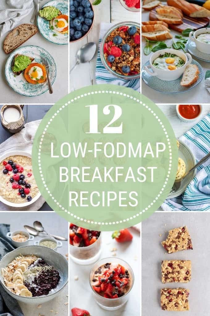 photo collage of low fodmap breakfast recipes