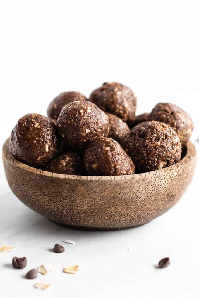 low FODMAP peanut butter brownie bites in a wooden bowl