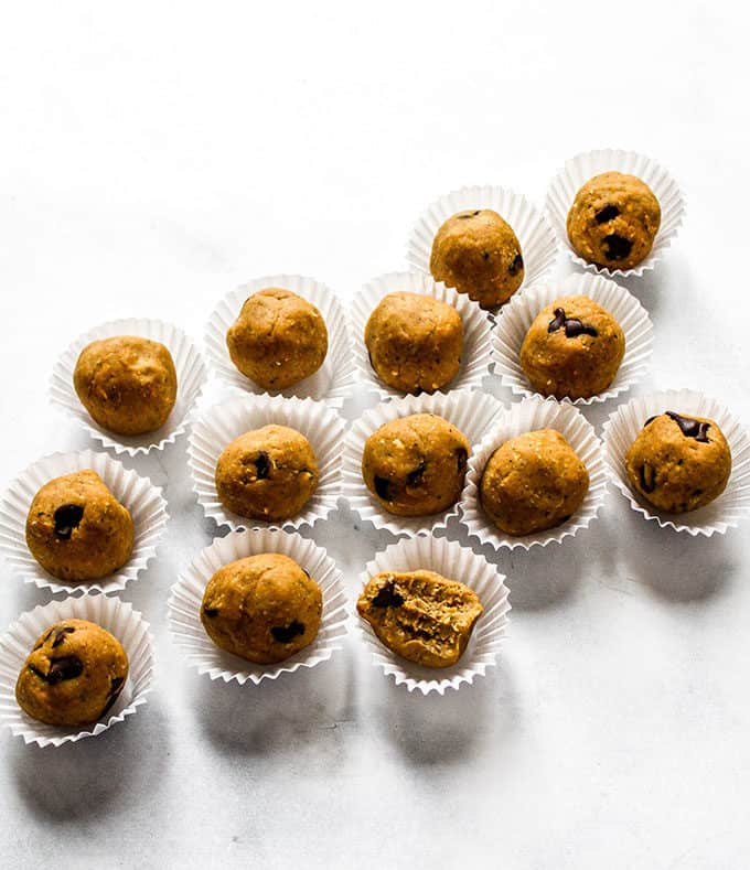 cookie dough bites on a white surface
