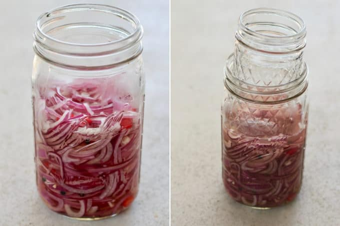 photo collage of a mason jar with pickled onions and a glass holding the onions below the liquid