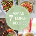 photo collage of vegan tempeh recipes