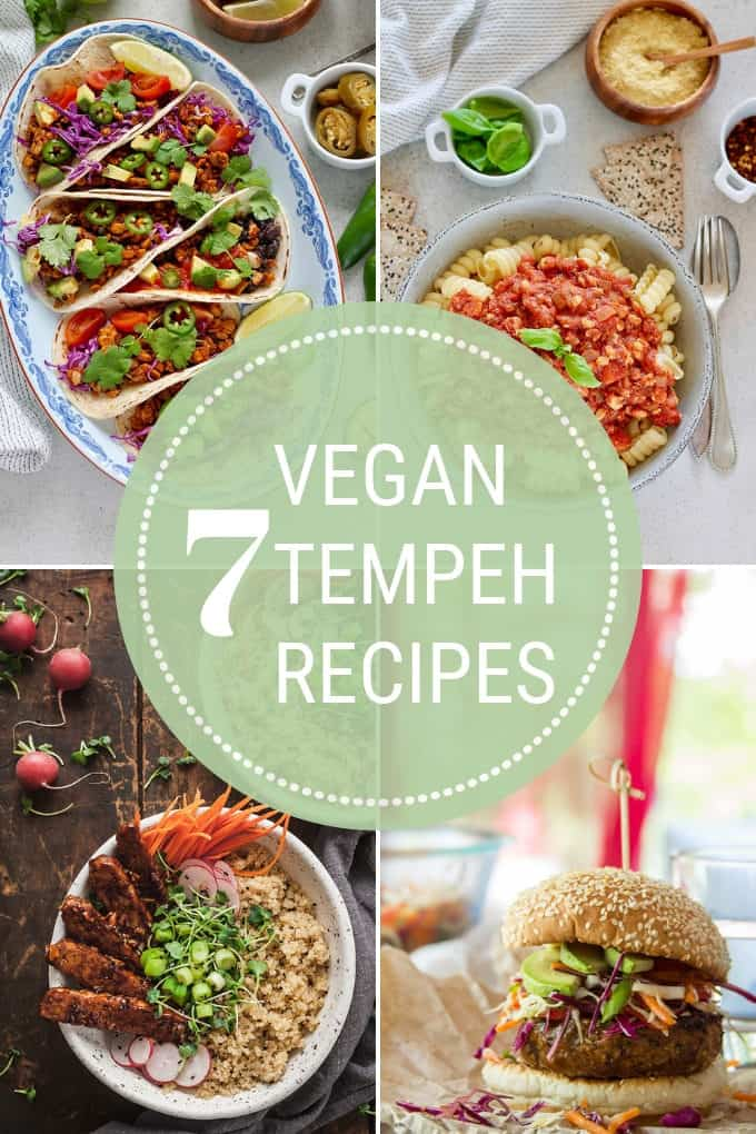 photo collage of vegan tempeh recipes
