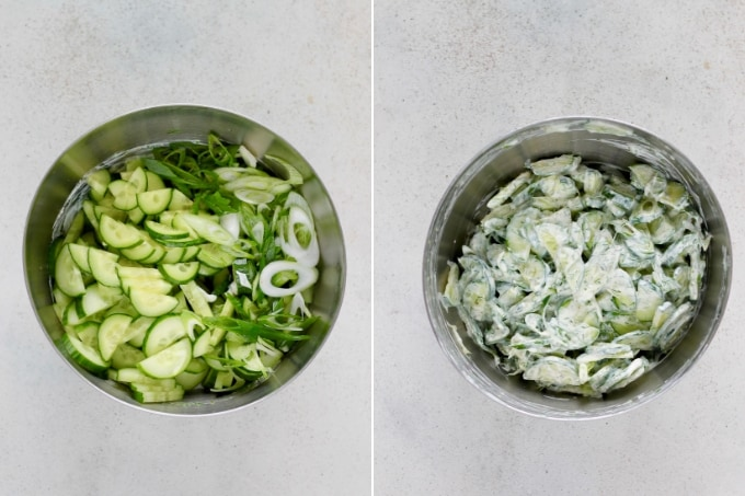 photo collage of cucumber yogurt salad in a metal bowl