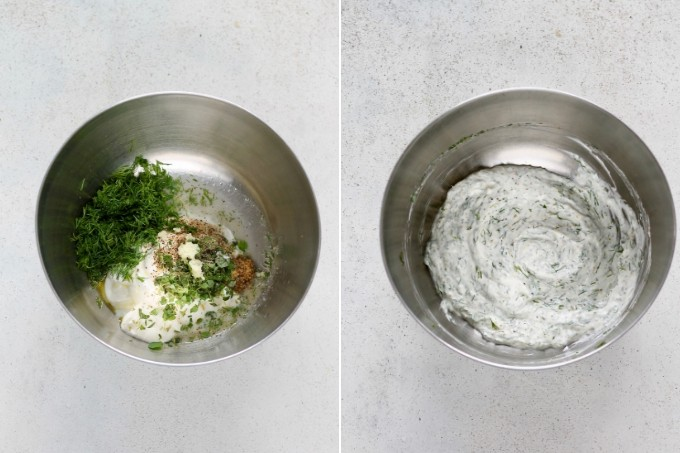 photo collage of creamy yogurt dill dressing being made