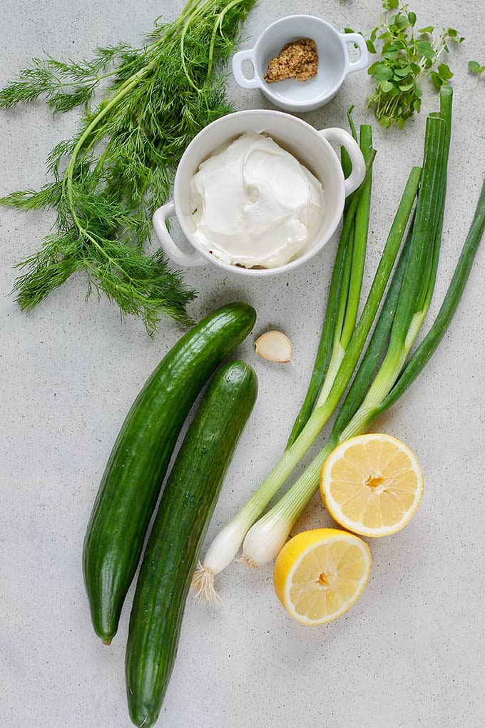 cucumbers, green onion, sliced lemon, garlic, dill, oregano, dijon mustard, and yogurt on a grey background
