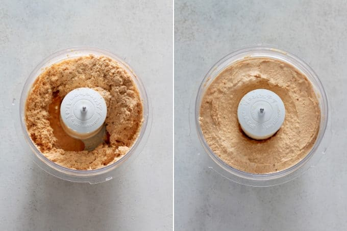 photo collage of chipotle hummus being made in a food procssor