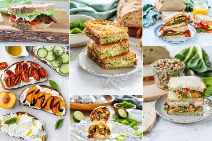 photo collage of vegetarian and vegan sandwiches