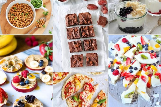 photo collage of after school snack ideas