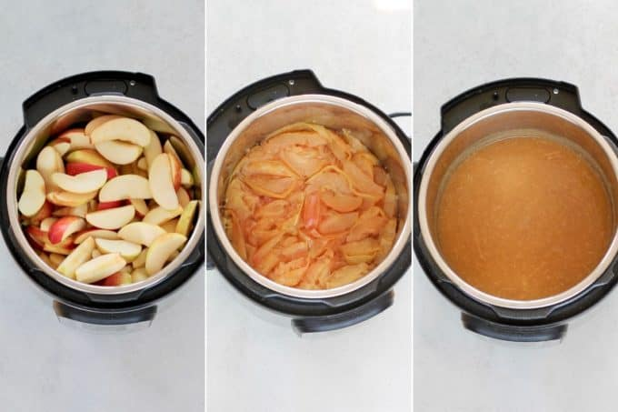 photo collage of instant pot apple sauce being made