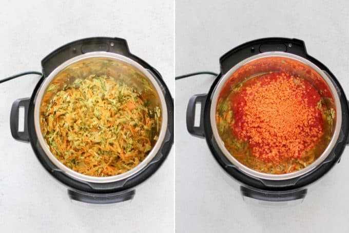 photo collage of vegetables, red lentils, and crushed tomatoes in an instant pot
