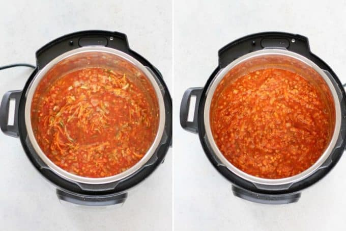 photo collage of red lentil stew in an instant pot