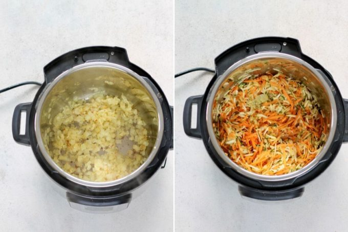 photo collage of onions and vegetables being cooked in an instant pot