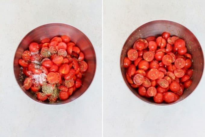 photo collage of tomatoes in a metal bowl being tossed with oil and spices