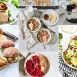 photo collage of vegetarian breakfast recipes
