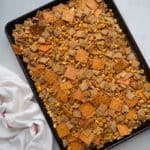 wholegrain chex mix on a sheet pan