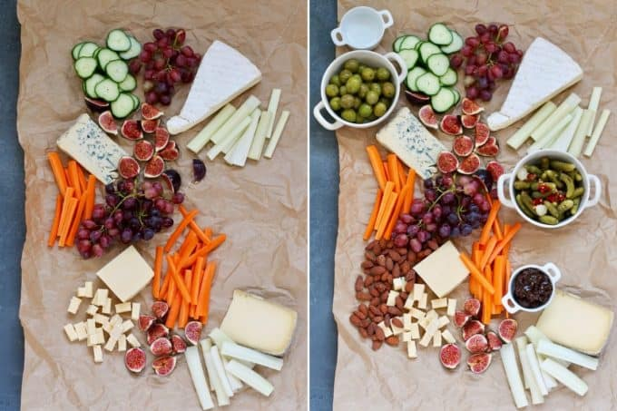 photo collage of a vegetarian cheese board being assembled