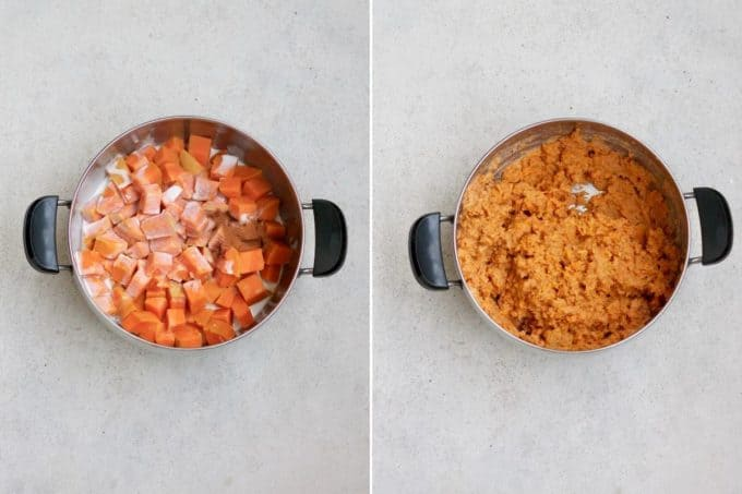 photo collage of coconut milk being mashed into sweet potatoes