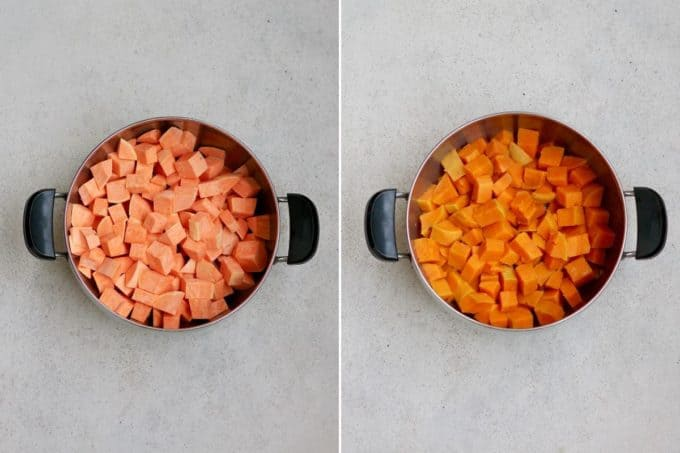 photo collage of cooked and uncooked sweet potato in a large pot