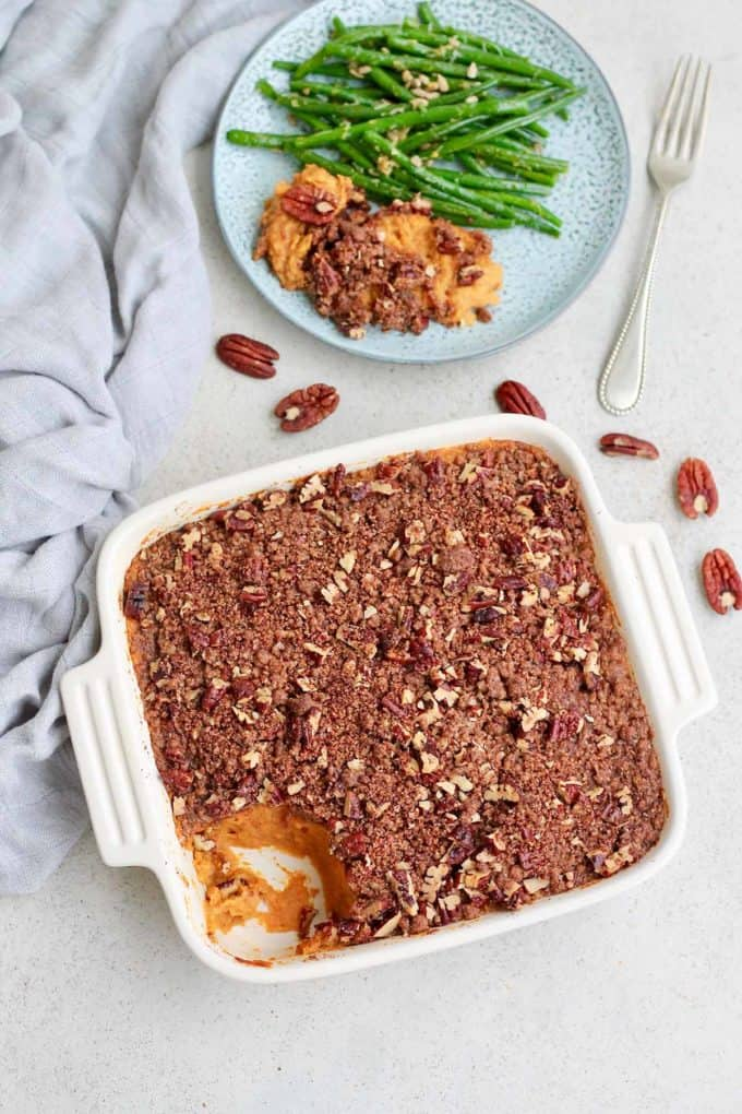 vegan sweet potato casserole with a scoop removed