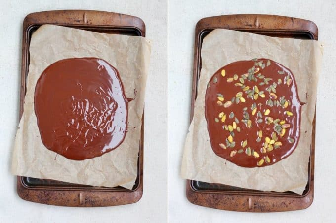 melted chocolate poured onto a sheet of parchment paper