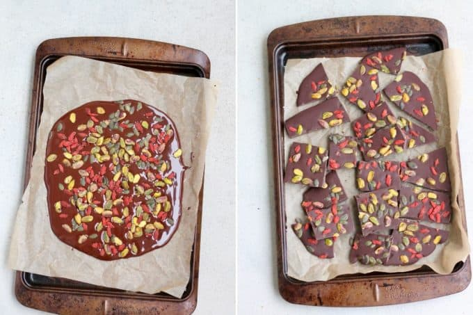 melted dark chocolate topped with pistachios and goji berries to make dark chocolate bark