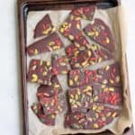 dark chocolate bark on a white plate