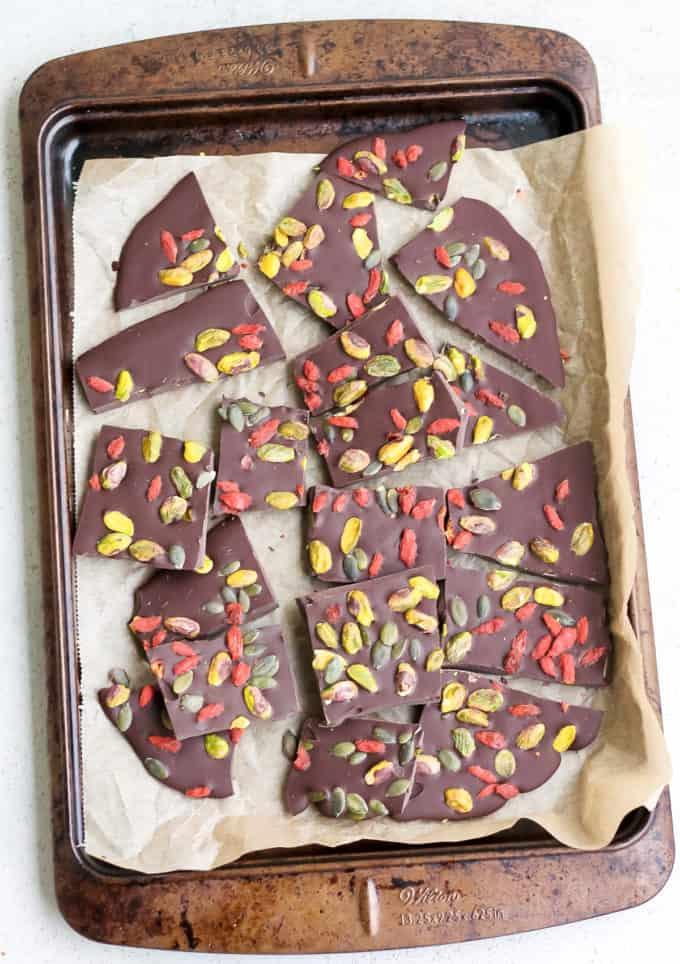 dark chocolate bark broken into pieces
