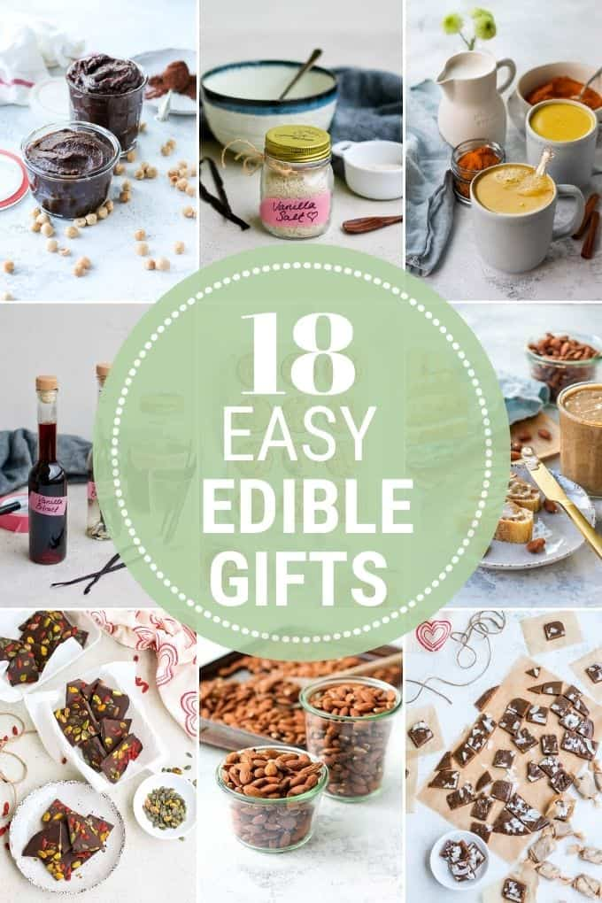 photo collage of edible gift ideas with the text 18 easy edible gifts
