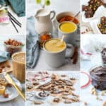 photo collage with homemade edible gifts like nut butter and turmeric latte mix