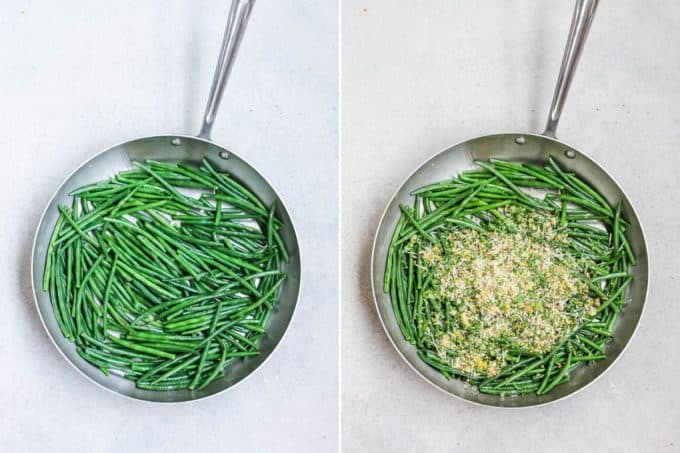 sautéed green beans in a large skillet topped with gremolata