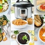 photo collage of vegetarian recipes made in an instant pot