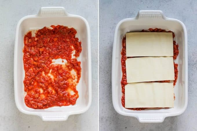 photo collage of pasta sauce and lasagna noodles in a casserole dish